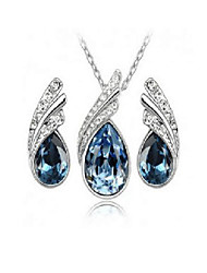 cheap -crystal jewelry wholesale yiwu small jewelry hot selling crystal necklace earring set-floating