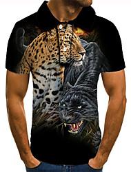 cheap -Men's Golf Shirt 3D Print Leopard Animal Button-Down Short Sleeve Street Tops Casual Fashion Cool Black / Sports