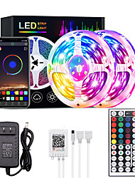 cheap -10M 30M RGB LED Strip Lights Bluetooth Smart Phone Controlled 20M 40M LED Light Strip 5050 LED Lights Sync to Music and 44 Keys Remote Controller for Bedroom Home TV Back Lights