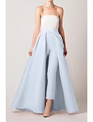 cheap -Jumpsuits Color Block Elegant Engagement Formal Evening Dress Strapless Sleeveless Floor Length Satin with Sleek 2021
