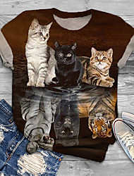 cheap -Women's Plus Size Tops T shirt Print Cat Graphic Animal Large Size Crewneck Short Sleeve Basic Big Size XL XXL 3XL 4XL 5XL Blue Red Wine Green