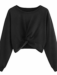 cheap -women's long sleeves sweater tops round collar pure color hatless blouses teresamoon black