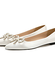 cheap -Women's Flats Flat Heel Pointed Toe Closed Toe Satin Bowknot Solid Colored Almond White Black