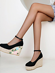 cheap -Women's Heels Wedge Heel Round Toe Nubuck Color Block Braided Almond Black Pink