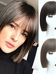 cheap -Short Straight Bob Wigs For Women Black Brown Synthetic Hair Cosplay Wig With Bangs High Temperture Fiber Blunt Cut Bob