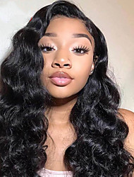 cheap -Unprocessed Virgin Hair 4x13 Closure Wig Middle Part style Brazilian Hair Burmese Hair Water Wave Deep Curly Black Wig Soft Natural Hairline Coloring With Bleached Knots Bleached Knots Women's 24