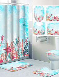 cheap -Undersea Plants Ocean Theme Bathroom Waterproof Shower Curtain and Hook Cushion Four-piece Casual Decoration