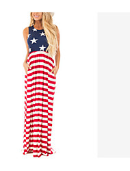 cheap -ebay united states independence day hot fashion flag print waist elastic band multicolor flag dress dress
