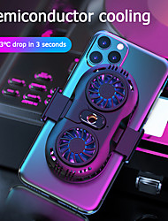 cheap -AH102 Mobile Phone Cooler Double Fan Phone Radiator Phone Holder Cooling Pad Gamepad Controller Heat Sink For 4-6.5 inch Smartphone