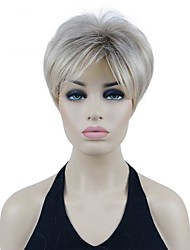 cheap -Short Straight Blonde Ombre w/ Brown Roots Heat Ok Full Synthetic Wig  Mother's Day gift