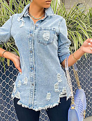 cheap -europe and the united states aliexpress amazon wish stand-alone station new hole mid-length slim denim jacket