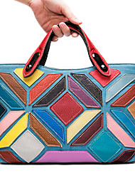 cheap -cross-border 2020 new leather women's handbags first layer cowhide bucket stitching color women's handbag 950