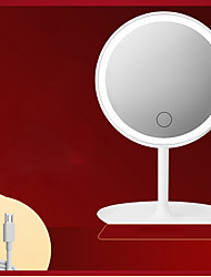 cheap -LED Makeup Mirror Makeup Mirror With Lamp Desktop Rechargeable Makeup Mirror Girl Portable Mirror Table Lamp