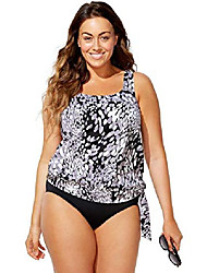 cheap -swimsuitsforall swimsuits for all women's plus size black and white blouson tankini set 20 multi