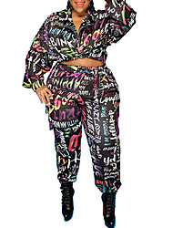 cheap -Women's Plus Size Graphic Letter Set Large Size V Neck Long Sleeve Tops XL XXL 3XL Big Size