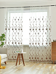 cheap -Two Panel Pastoral Style Embroidered Window Screen Living Room Bedroom Dining Room Children's Room Translucent Tulle