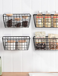 cheap -Wrought Iron Storage Basket Wall-mounted Bathroom Kitchen Storage Artifact Hanging Basket Rack Free Punch Storage