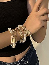 cheap -fxmimior dainty boho gold pearls chain bracelets set for women adjustable fashion beaded chunky coin and key chain bracelets jewelry for women girls gift set of 4 (silver)