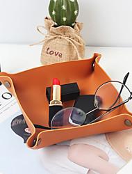 cheap -PU Leather Storage Tray Desktop Finishing Box Living Room Porch Key Box Lipstick Makeup Storage 19x22cm