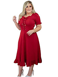cheap -Women's Plus Size Dresses A Line Dress Maxi long Dress Short Sleeve Plain Drawstring Square Neck Classic Summer L XL XXL XXXL 4XL