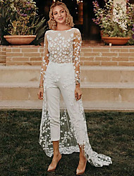 cheap -Jumpsuits A-Line Wedding Dresses Jewel Neck Sweep / Brush Train Lace Satin Long Sleeve Sexy See-Through Modern with Embroidery Appliques 2021