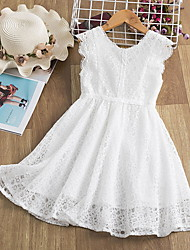 cheap -Kids Little Girls' Dress Solid Colored Lace Trims Print White Knee-length Sleeveless Active Dresses Summer Regular Fit 5-12 Years