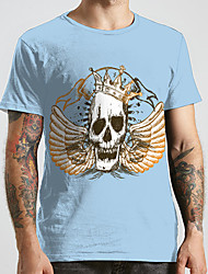 cheap -Men's Unisex Tee T shirt 3D Print Graphic Prints Skull Wings Plus Size Print Short Sleeve Casual Tops Fashion Designer Big and Tall Blue