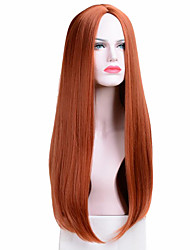 cheap -halloweencostumes Long Straight Wigs Synthetic Orange Color Women's Wig Cospaly Central Part Hair Silver Grey White Red Colour