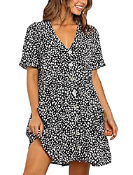 cheap -qegartop summer dresses with pockets oversized babydoll tunic dresses button down flowy dress black m