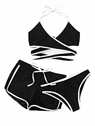 cheap -Women's Bikini Swimsuit Solid Color Black Blushing Pink Green Swimwear Bathing Suits Sexy