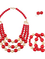 cheap -necklace 3-piece set gold frosted beaded necklace