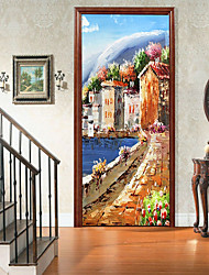 """cheap -2pcs Self-adhesive Oil Painting Style Creative Door Stickers For Living Room Diy Decorative Home Waterproof Wall Stickers 30.3""""x78.7""""(77x200cm), 2 PCS Set"""
