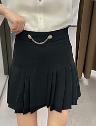 cheap -Women's Casual / Daily Weekend Vintage Streetwear Skirts Solid Colored Pleated Black