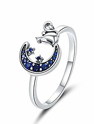 cheap -presentski cat ring adjustable rings for women sterling silver moon and star open ring for women girls