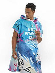 cheap -Unisex Quick Drying Cape Hooded Bath Robe Microfiber Swimming Diving Wearable Beach Bath Towel -Dreamy Ocean