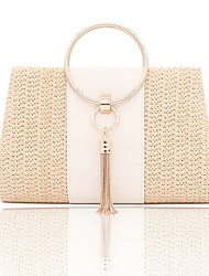 cheap -Women's Bags PU Leather Polyester Evening Bag Top Handle Bag Chain Solid Color Plain Party Daily Wedding Party Handbags MessengerBag White Yellow