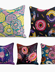 cheap -Cushion Cover 5PC Linen Soft Decorative Square Throw Pillow Cover Cushion Case Pillowcase for Sofa Bedroom 45 x 45 cm (18 x 18 Inch) Superior Quality Machine Washable Gourmet Food