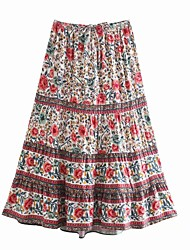 cheap -Women's Holiday Date Vintage Boho Skirts Floral Graphic Ruffle Print Red