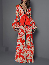 cheap -Jumpsuits Floral Boho Holiday Prom Dress V Neck Long Sleeve Floor Length Spandex with Pattern / Print 2021