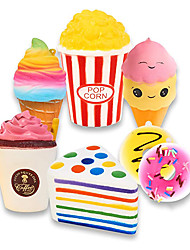 cheap -Slow Rising Jumbo SQUISHIES Set Pack of 7 - Rainbow Triangle Cake, Frappuccino, Popcorn, Donuts X2 & Ice Cream X2, Kawaii Squishy Toys or Stress Relief Toys Sticker Come with The Squishys
