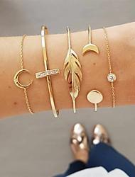 cheap -street style big-name leaf moon bracelet bracelet five-piece set female set