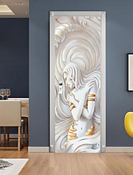cheap -2pcs Self-adhesive Sculpture Beauty Creative Door Stickers Living Room Decoration Home Waterproof Wall Stickers