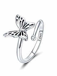 cheap -925 sterling silver dainty butterfly expandable open cuff rings adjustable animal promise band ring for women teen girls