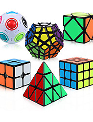 cheap -QiYi Speed Cube Set 6 Pack Magic Cube Bundle - 2x2x2 3x3x3 Pyramid Megaminx Skew Cube Magic Rainbow Ball Puzzle Cube Toy for Kids and Adults