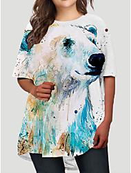 cheap -Women's Plus Size Graphic Bear Animal Print Basic Half Sleeve Fall Short Mini Dress T Shirt Dress Tee Dress Green