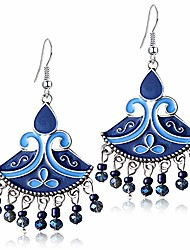 cheap -damleng bohemian vintage enamel fan shape dangle drop earrings statement handmade national style flower bead alloy boho dangle earrings for women girls (dark blue)