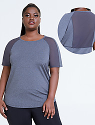 cheap -2021 spring and summer european and american yoga blouse cross-border loose plus size sports short-sleeved t-shirt women's mesh gym clothes top
