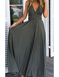 cheap -Women's Swing Dress Maxi long Dress Gray Sleeveless Solid Color Backless Lace up Summer V Neck Elegant Casual 2021 S M L XL