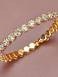 cheap -Women's Cuff Bracelet Tennis Bracelet Bracelet Tennis Chain Wedding Simple Elegant European Rhinestone Bracelet Jewelry Gold For Anniversary Gift Formal Prom Date