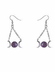 cheap -ruizhen silver triple moon goddess symbol healing stone chain dangle earrings (amethyst)